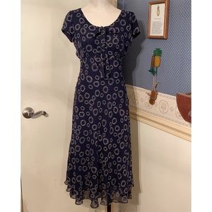 Talbots Pure Silk Size 2P Dress Sleeveless Navy